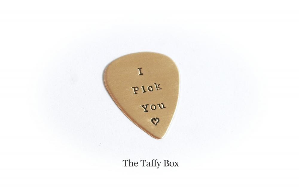 Hand Stamped Copper Guitar Pick