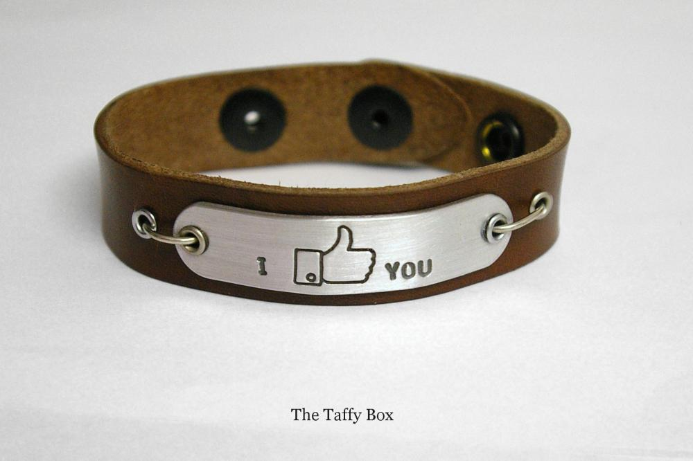 "Facebook ""like"" Bracelet in leather or chain"