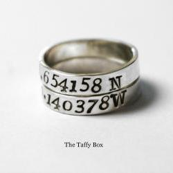 2 Sterling Silver Longitude Latitude Rings