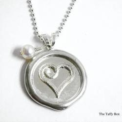 Wax Seal Pendant Necklace - Heart OR Monogram Letter