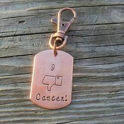 I hate cancer key chain - hand stamped